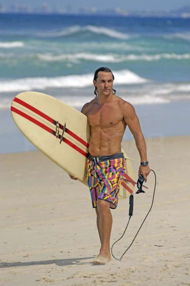 Pin for Later: Prepare to Fall in Love With Matthew McConaughey All Over Again  The fit star surfed shirtless in Australia in February 2007.