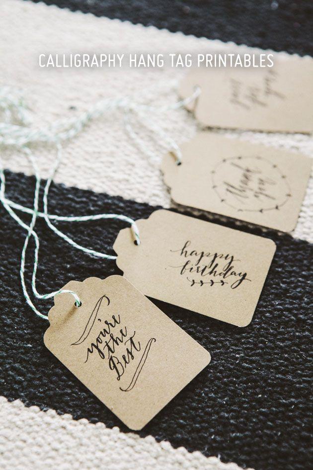Imprimibles para etiquetas caligrafía, pero para troquelar con etiqueta jumbo y perforadora >> Free printable message for tags. You must use Jumbo tag punch and hole punch.