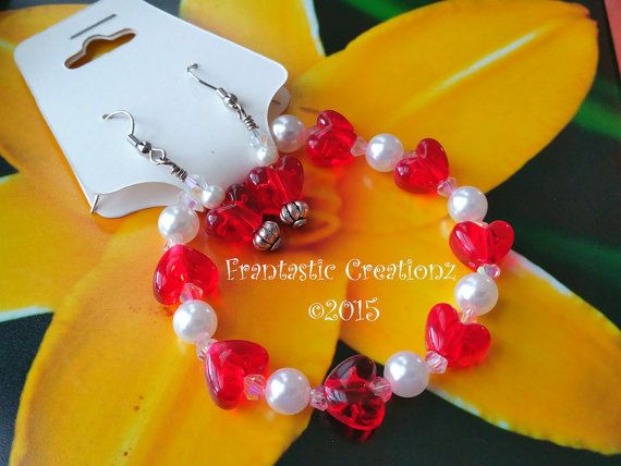 Elegant Set  Pearl Bracelet with Red Hearts by FrantasticCreationz