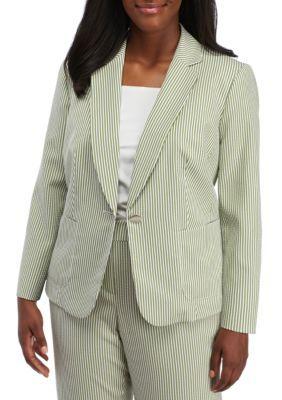 Kasper Honeydew Multi Plus Size Notch Collar Seersucker Jacket