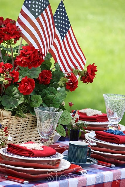 Red, White and Blue, Patriotic True: Table Settings, Memorialday, Stonegable, Blue, Memorial Day, July 4Th, Patriotic Tablescape, Red White