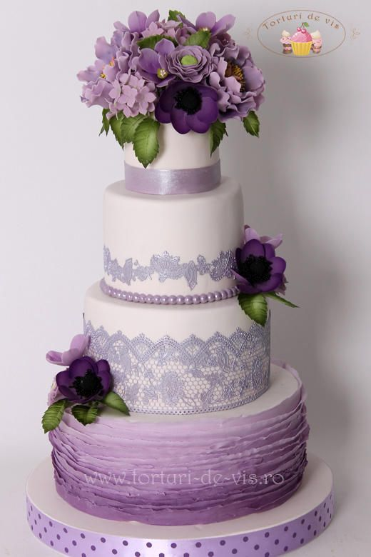 17 Best 1000 images about Wedding Cakes White Lavender or Purple on