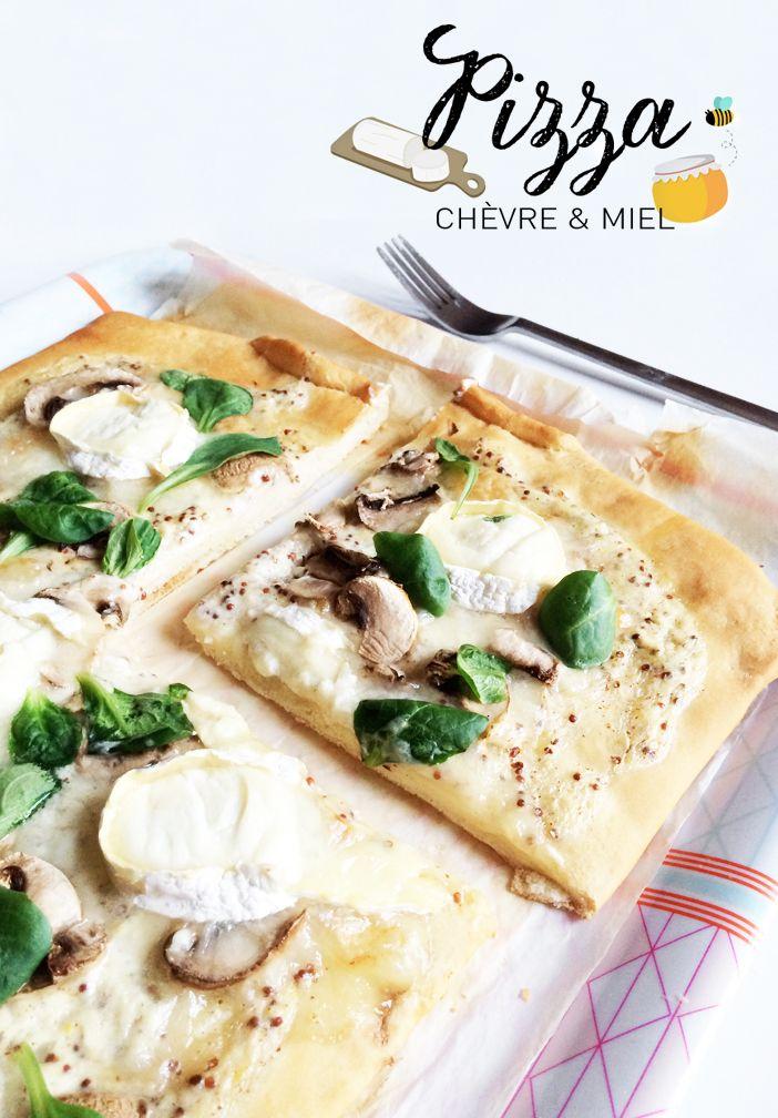 pizza chèvre - miel - roquette - champignon  recette illustrée !