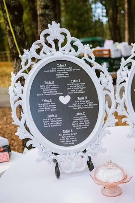 cadre baroque blanc pour menu de mariage pas cher
