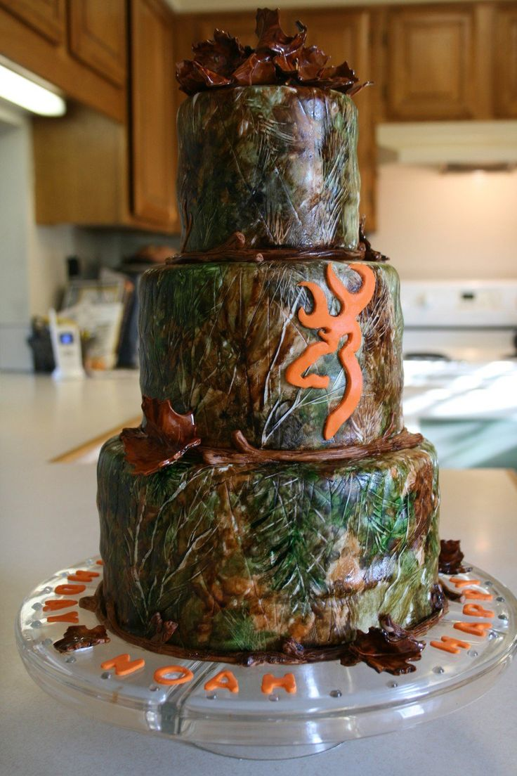 Hunter's Birthday Cake The customer ordered this 3-tiered, fondant covered cake for her husband's birthday. He is a hunter so she...
