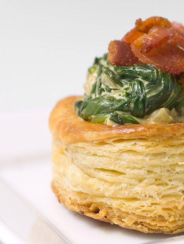 Creamy spinach and bacon vol au vent