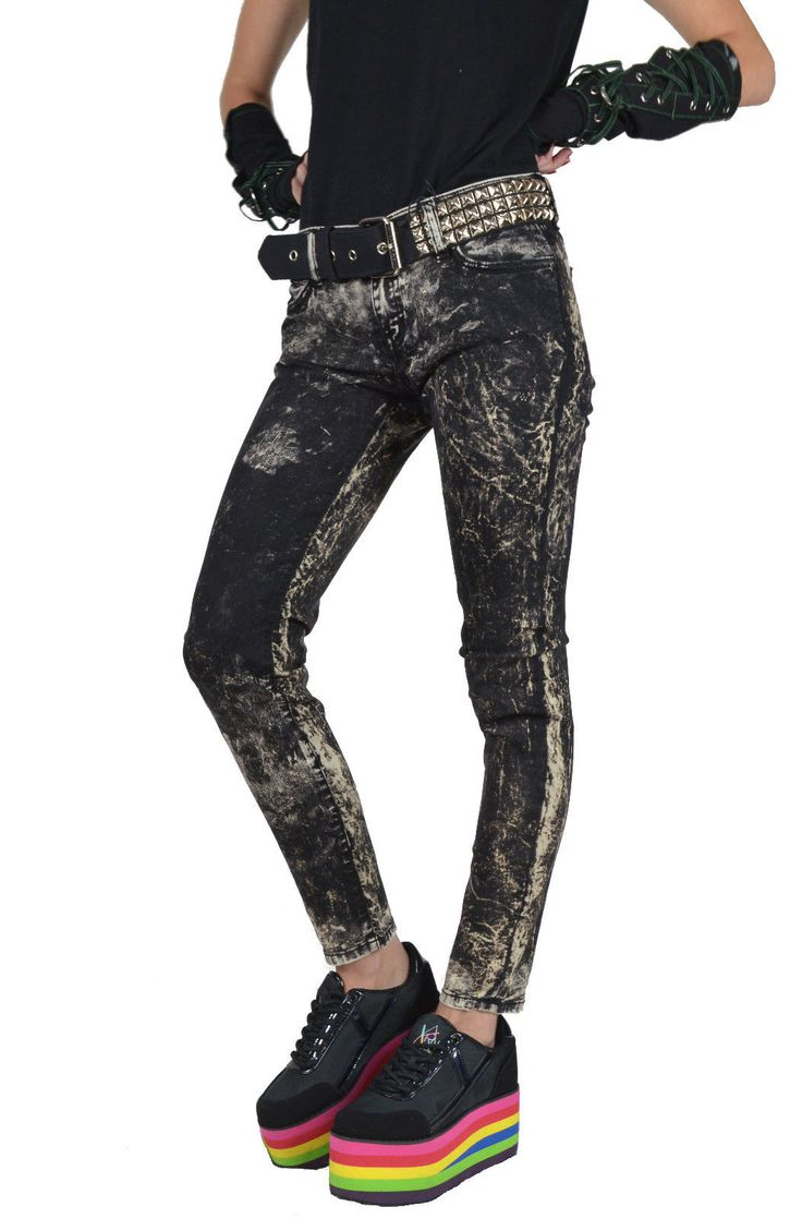 Kill City Lip Service Gothic Punk Rocker Stretch Bleach Skinny Jeans Pants