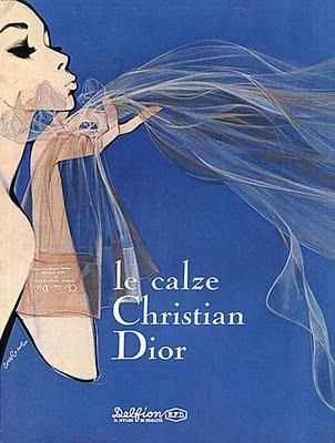 Christian Dior vintage ad. How fantastic is this at depicting the stockings as weightless and airy?
