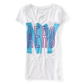 T-shirt col V blanc Aérospostale