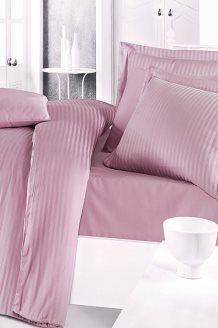 Conjunto de edredão cetim de algodão Striped - Lilás