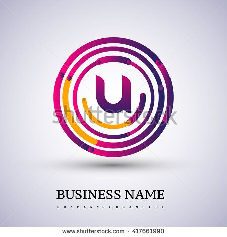 Letter U vector logo symbol in the colorful circle thin line. Vector design template elements for your application or company identity. - stock vector