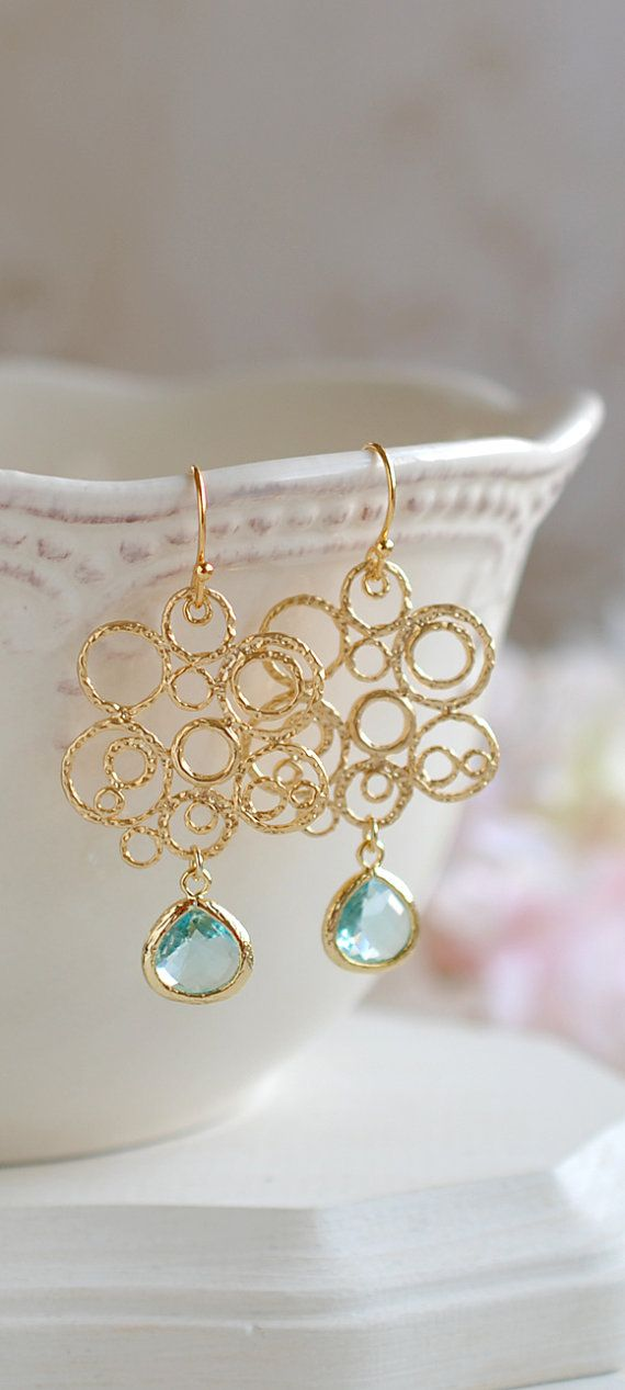 Matte Gold Lace Filigree Aqua Blue Erinite Teardrop Crystal Glass Earrings, Bohemian Chandelier Earrings, Gold Aqua Wedding Earrings by LeChaim, $26.50 www.etsy.com/shop/LeChaim