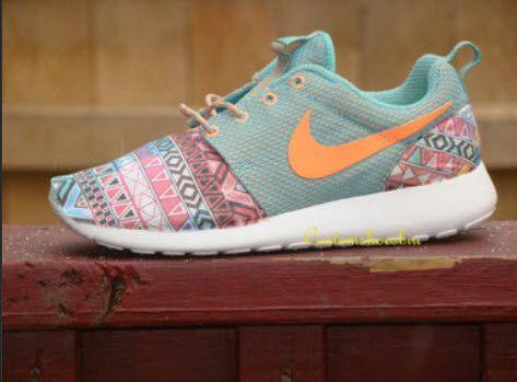 Custom Nike Roshe Run- Rainbow Tribal NIKE Rosherun Roshe Run Jade Blue Atomic Orange White Roshe Run- Toe-Women/ Kids