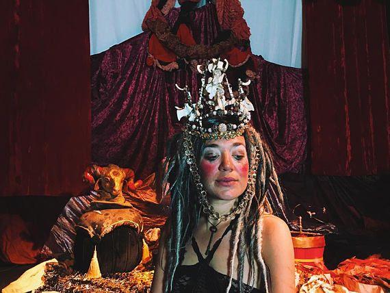 Rhinestone Bone Crown statement headdress Gothic head piece