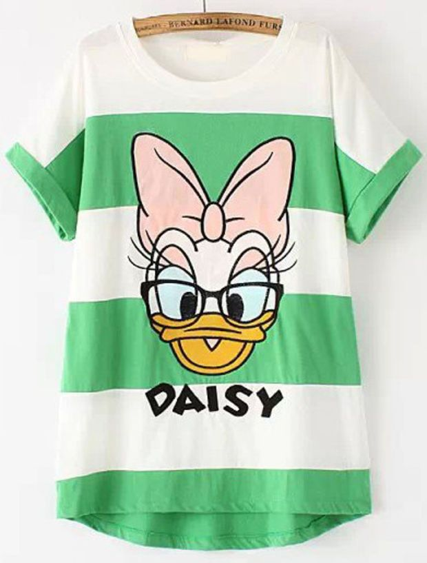 T Shirts Cartoon Characters : Green and white striped cartoon character print t shirt