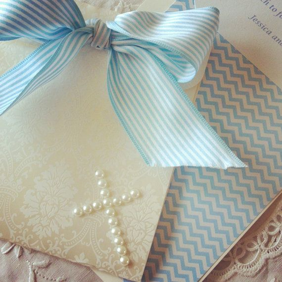 Sample - Hand made baptism invitation Christening baby boy invitation on Etsy, $7.78 AUD