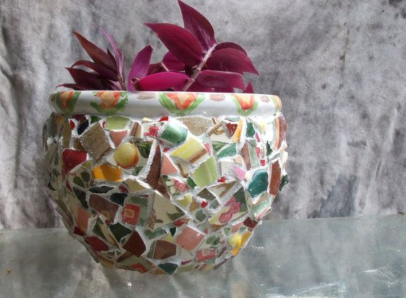 Large Indoor PLANTER POT-Handmade Mosaic Pot wIth Hand-painted