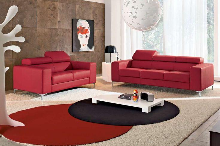 Salotto con divani rossi