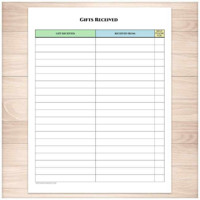 Printable PDF page that is used to track the gifts or presents you've received for any Holiday or occasion. This list is perfect for Birthdays and Weddings. This sheet is designed with a sections for the gift you've received, the person who gave you the gift, and a column to mark off as you send thank you cards for the gifts you've received.