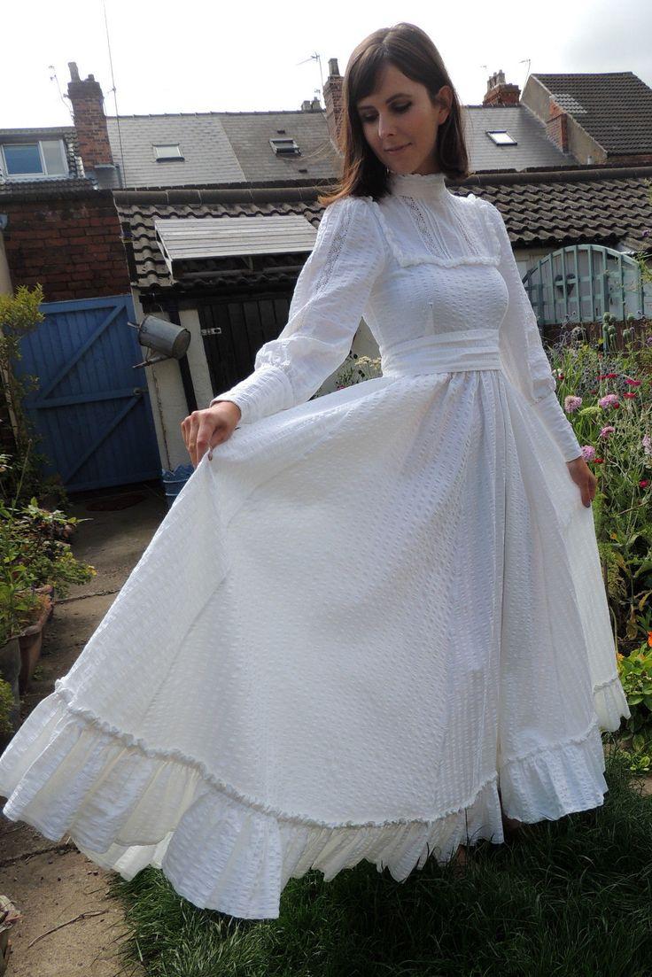 laura ashley laura ashley wedding dresses Vintage LAURA ASHLEY Romantic Victorian Edwardian s WEDDING Dress Sz 8 10 eBay