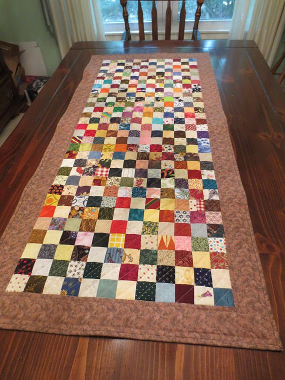 Scrappy Table Runner Quilted Country 24 x 52 inches