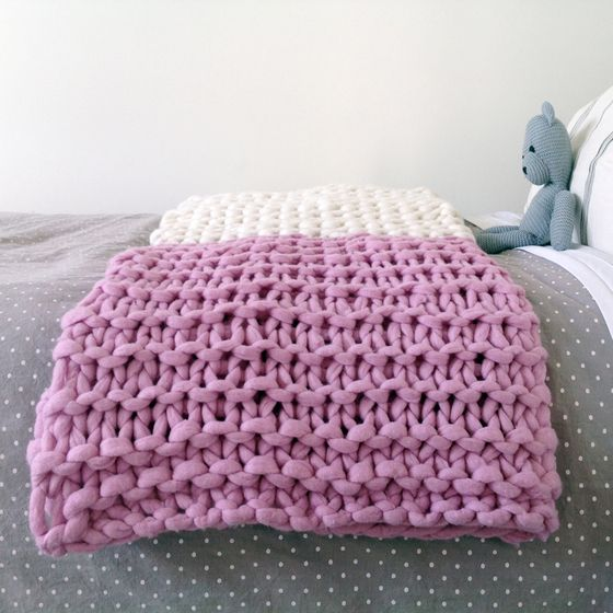 Chunky Knit Colour Block Throw