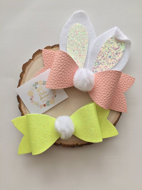 Bunny Ear Bows/ Hair Bows/ Headbands/ Easter by BabyBubsBoutique
