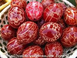 Traditional Romanian Easter eggs -- painted red, just like the blood of Christ, who gave His life  to save all of us.