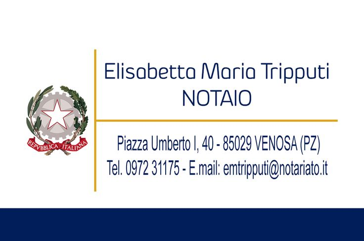 CLIENTE: Notaio Elisabetta Maria Tripputi LAVORO: Grafica e Stampa Bigliettini da Visita cm 8,5 X 5,5