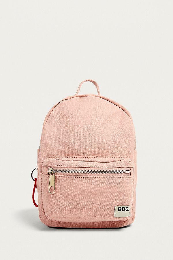 BDG Petit sac à dos en toile rose idéale pour les filles