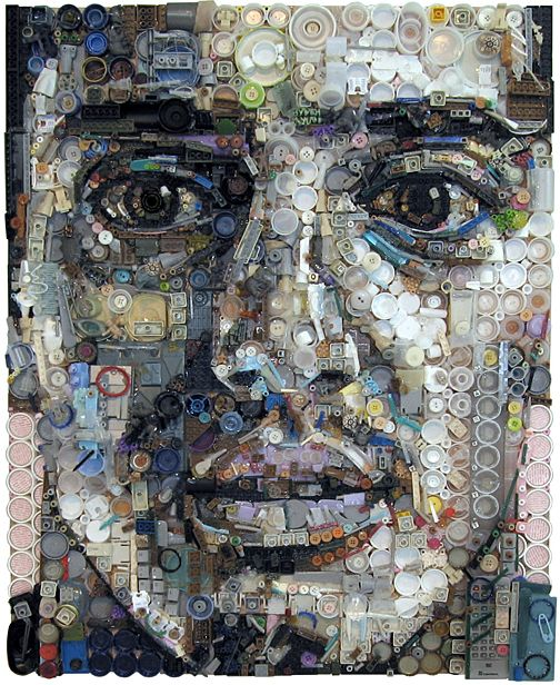 Artist Zac Freeman makes amazing portraits by collecting junk, found objects-check out his work