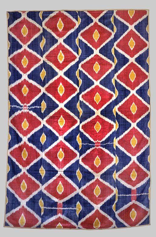 Wall- hanging, Uzbekistan Cotton warp, silk weft, ikat- dyed; woven. Uzbekistan Circa 1880's