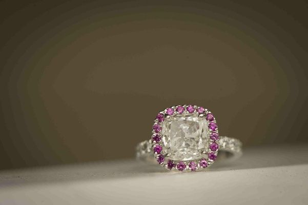 A pop of pink to this engagement ring | Brett Matthews Photography