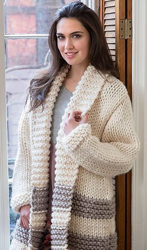 Free Knitting Pattern for Cozy Car Coat - This easy cardigan jacket by Heather Lodinsky knits up quickly in super bulky yarn. I always wanted one of these!