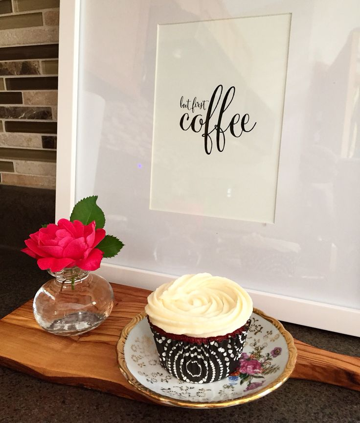 Delicious red velvet cupcake sitting on a vintage saucer. George Vancouver rose cut from my garden #Style19