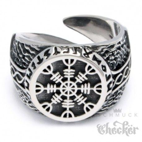 Detaillierter Ring mit Aegishjalmur, dem Schutzamulett der Wikinger. Der Ring ist aus massivem Edelstahl und damit quasi unzerstörbar.  #NordischeMythologie #Edelstahlschmuck #schmuckchecker