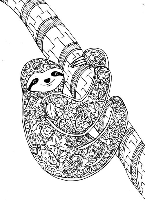 "Flower Sloth, a page from my new art therapy coloring book ""Animal Dreamers""Please check it out here :)https://www.kickstarter.com/projects/1382679986/animal-dreamers-art-therapy-coloring-book-for-all"