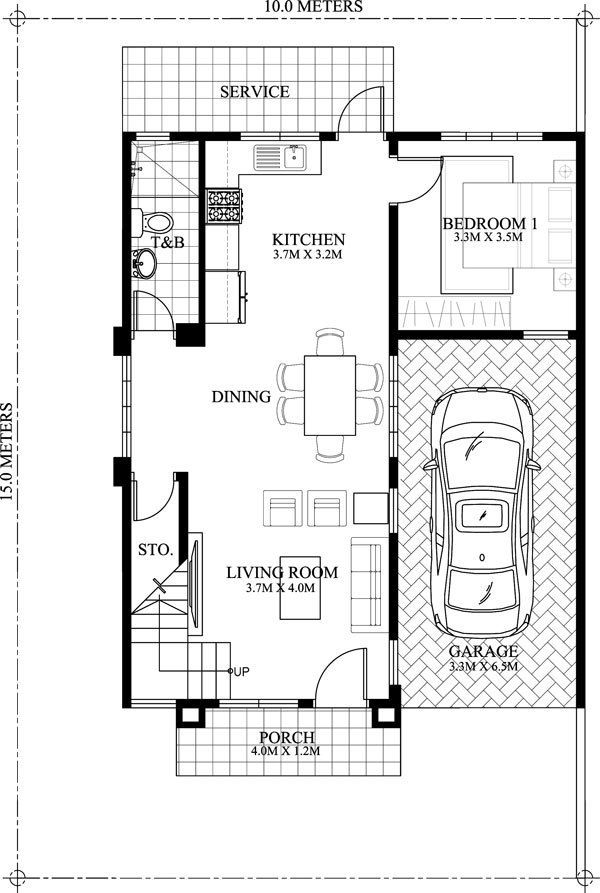 Double Story Four Bedroom Modern House Plan Myhomemyzone Com Two Story House Design Modern House Floor Plans Two Storey House Plans