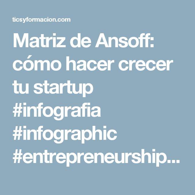 Matriz de Ansoff: cómo hacer crecer tu startup #infografia #infographic #entrepreneurship   TICs y Formación