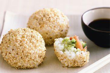 Salmon and Avocado Rice Balls: Brown Rice, Rice Ball, 39 Delicious, Rolls Sushi, Avocado Recipes, Salmon Avocado, Sushi Ball, Healthy Avocado, Avocado Rice
