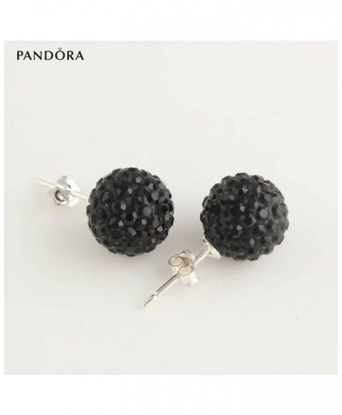 Sales : Purchase Pandora 10mm disco ball jet crystal bead stud 925 silver earrings ser1001 on discount | pandora Official Website
