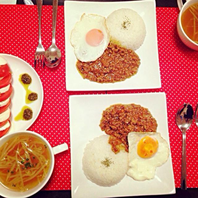 ドライカレー、カプレーゼ、スープです(*^_^*) - 0件のもぐもぐ - ドライカレーランチ by satomitateVpa