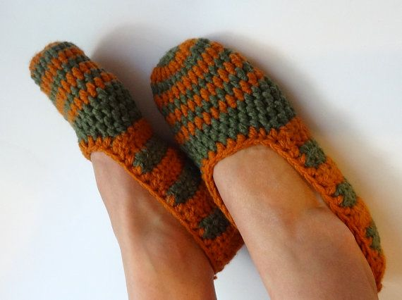 Crochet Slippers for Women Copper green stripes  Home by Ifonka, $18.00