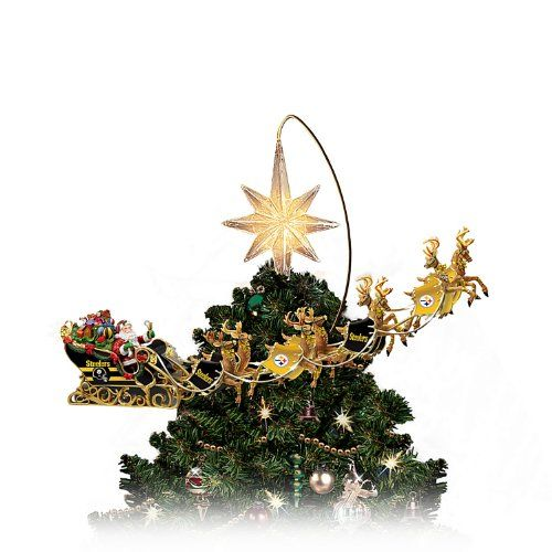 NFL-Licensed Pittsburgh Steelers Lighted Christmas Tree Topper: Steelers Holiday Pride by The Bradford Exchange | Christmas Decorations Box