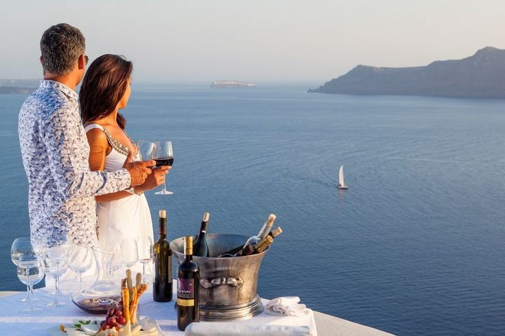Enjoy some wine with the one you love at the Canaves Oia Villa