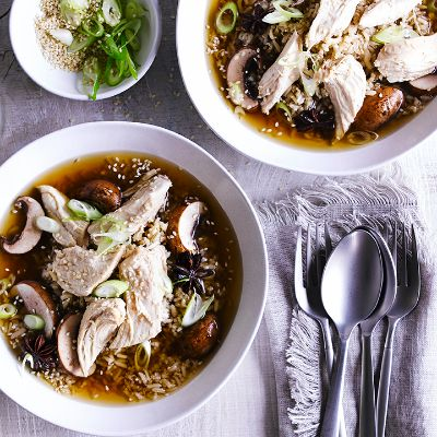 Ginger-soy poached chicken with rice and mushrooms
