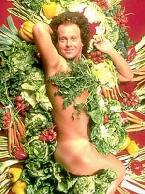 Richard Simmons Covered in Vegetables. You're welcome.