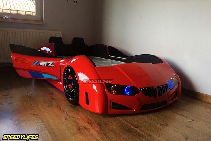 Kırmızı BMZ Araba Yatak - Deri Döşemeli Araba Yatak - Full Işıklı Arabalı Karyola
