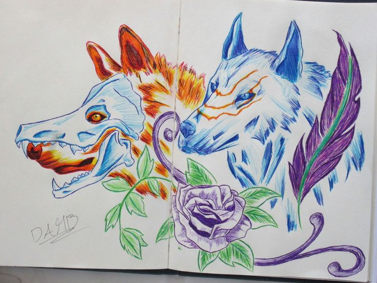 Utilizando esferos de colores #draw #pendrawing #colorpen #Wolf #rose