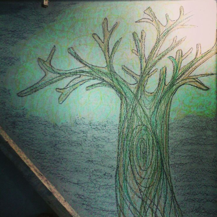 Growing -oil pastels on board